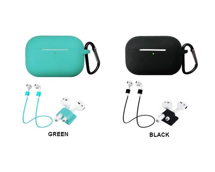 Home Protective Case For AirPods Pro / 3, Portable Silicone Protection Cover Charging Box Protector With Hook Rope Sleeve