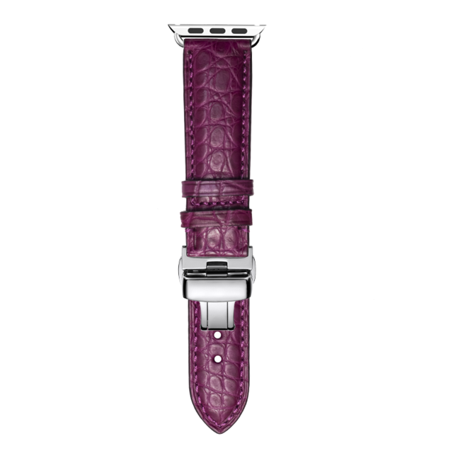 Home purple / 38mm Round Grain Alligator leather, Crocodile style Watch Band Suitable for Apple Watch Bracelet iwatch Series 5 4 3 2 Leather Strap 38mm 40mm 42mm 44mm