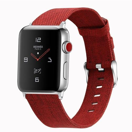 Home Red / 38mm/40mm Strap for Apple watch band 44mm 40mm correa iwatch band 42mm 38mm nylon watchband leather bracelet belt apple watch 5 4 3 2 1