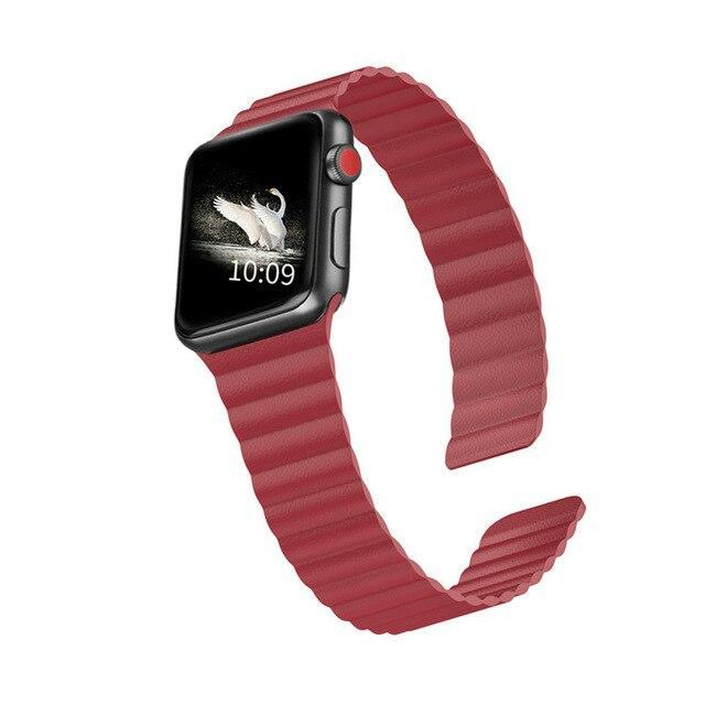 Home RED / 44mm/42mm 38mm/40mm Double Magnetic Clasp Strap for Apple watch band 44mm 40mm Leather loop iwatch Series 4 5 3 2 1 42mm 38mm