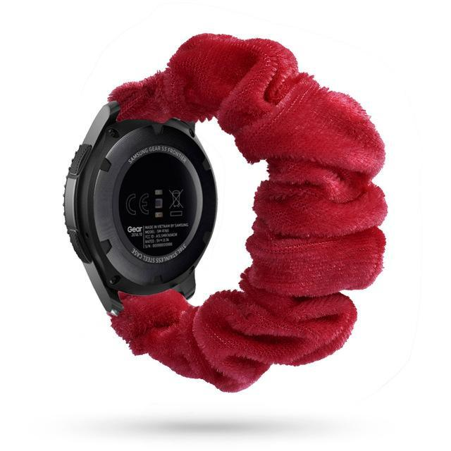 Home red silk velvet / 20mm watch band Elastic Watch Strap for samsung galaxy watch active 2 46mm 42mm huawei watch GT 2 strap gear s3 frontier amazfit bip strap 22 mm