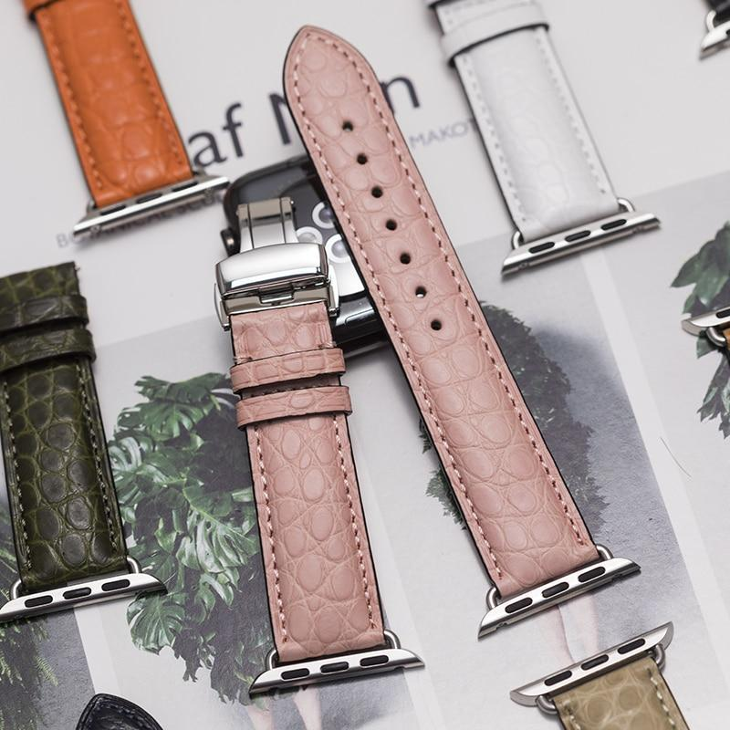 Home Round Grain Alligator leather, Crocodile style Watch Band Suitable for Apple Watch Bracelet iwatch Series 5 4 3 2 Leather Strap 38mm 40mm 42mm 44mm