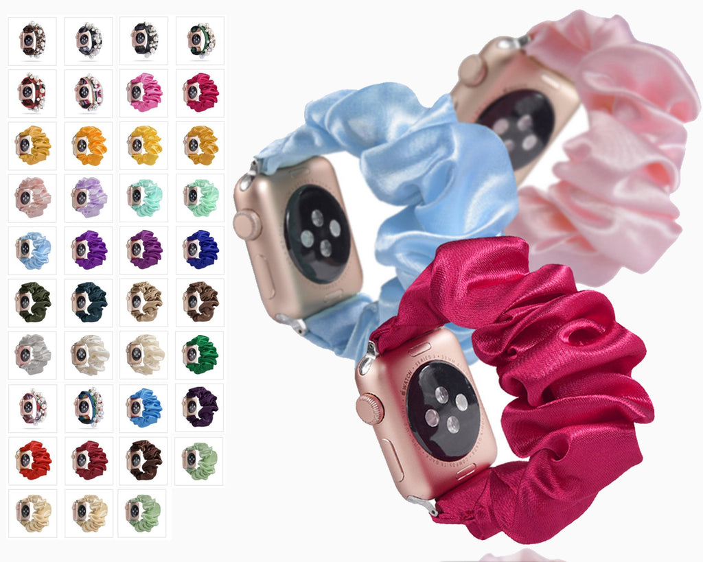 Home Ethnic boho Plaid style stripe Pearly beaded colorful women straps, Apple watch scrunchie elastic band, Series 5 4  scrunchy 38/40mm 42/44mm