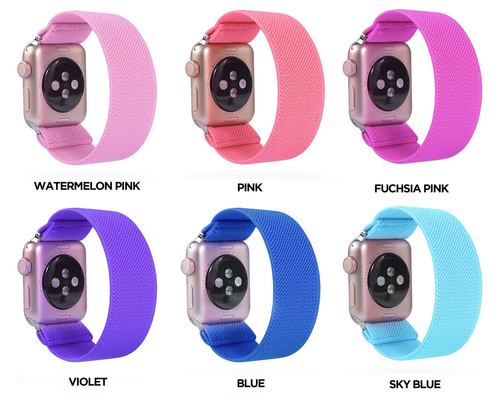 Home Neon glow solid colors, hot pink, pastel fluorescent straps, Apple watch scrunchies elastic band, Series 5 4 scrunchy 38/40mm 42/44mm Unisex