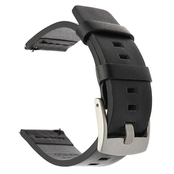 Home silver black / 18mm 20mm 22mm Genuine Leather Strap for Samsung Galaxy Watch 42 46mm Gear S3 Watch band Sport WatchBand Quick Release 18 24mm