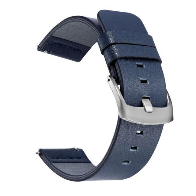 Home Silver Blue / 18mm 20mm 22mm Genuine Leather Strap for Samsung Galaxy Watch 42 46mm Gear S3 Watch band Sport WatchBand Quick Release 18 24mm