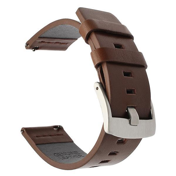 Home silver brown / 18mm 20mm 22mm Genuine Leather Strap for Samsung Galaxy Watch 42 46mm Gear S3 Watch band Sport WatchBand Quick Release 18 24mm