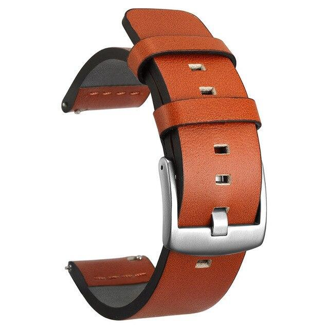 Home Silver Orange / 18mm 20mm 22mm Genuine Leather Strap for Samsung Galaxy Watch 42 46mm Gear S3 Watch band Sport WatchBand Quick Release 18 24mm