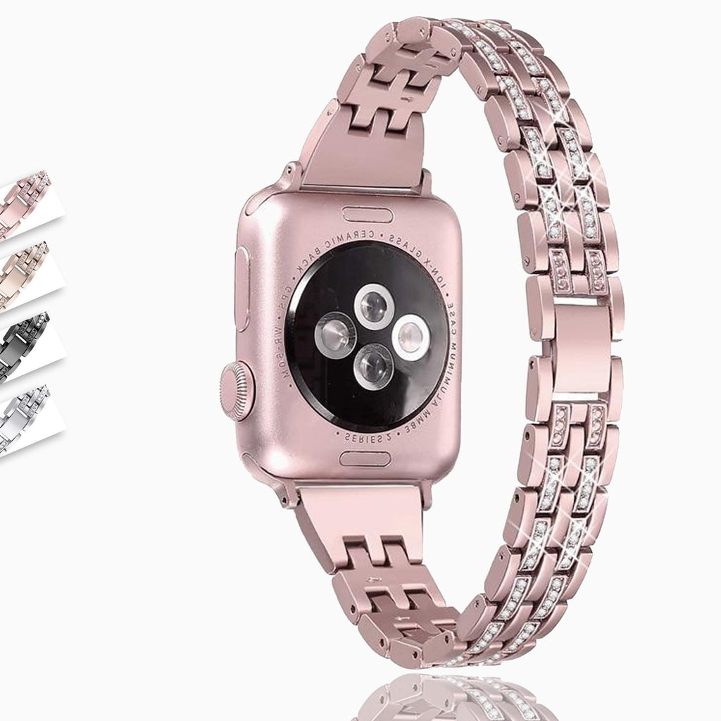 Home iWatch accessories strap for apple watch 38mm 40mm 42mm 44mm Series 6/5/4/3 Diamond Rhinestone luxury link bracelet women - US Fast Shipping