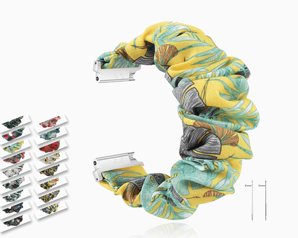 Watchbands Yellow Tropical Banana Scrunchies Elastic Soft Fabric Smart Watch Stretchable Band for Fitbit Versa/2/Lite ladies hair Wristband Watchbands