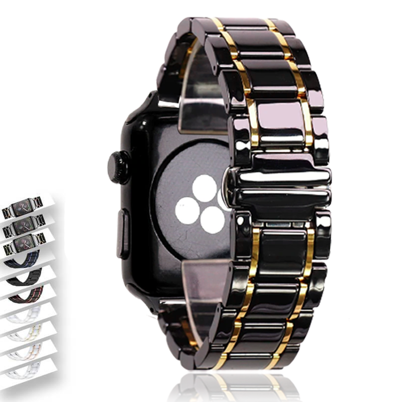 Watchbands Black Gold / 42mm or 44mm Ceramic Strap for Apple Watch Series 6 5 4 Band Luxury High Quality Steel Bracelet iWatch 38mm 40mm 42mm 44mm Butterfly Clasp Wristband Watchbands