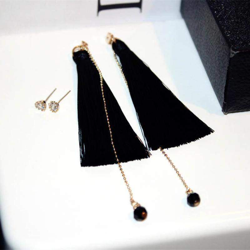 jackets Long Tassel Dangle Earrings Zircon Dual-use Earrings