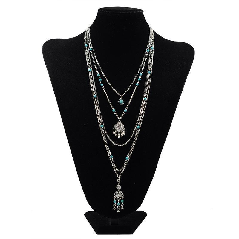 Jewelry 2016 Hot Sale Ethnic Bohemia Flower Necklace Women Vintage Multi Layered Charm Necklaces for Women Boho Retro Necklace Wholesaler