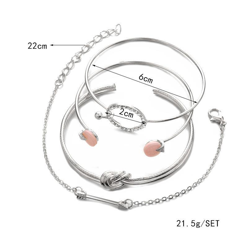 Jewelry 4 Pcs/ Set Classic Arrow Knot Round Crystal Gem Multilayer Adjustable Open Bracelet Set Women Fashion Party Jewelry Gift