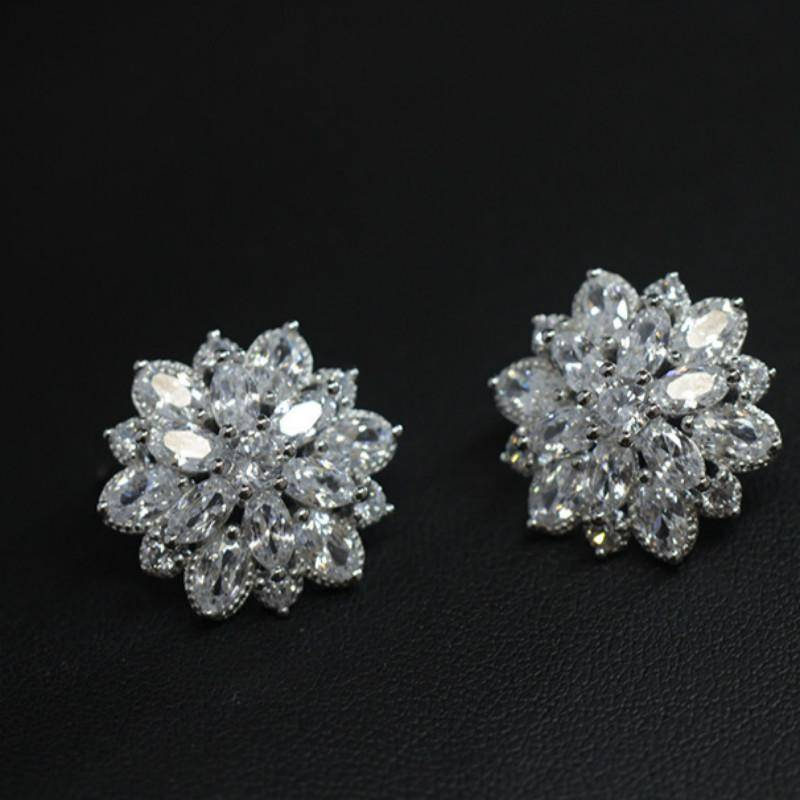 jewelry 925 Sterling Silver Aaa Cubic zirconia Flowers Stud Earrings For Women Luxury Bride lady fashion jewelry