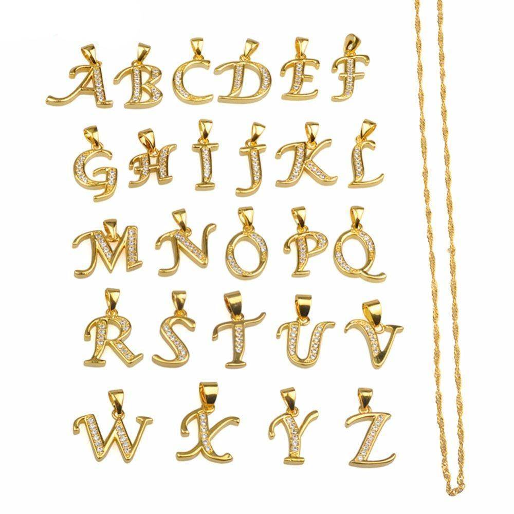 jewelry A- Z Small Letters Gold Pendant Necklace with Chain 45cm / 60cm