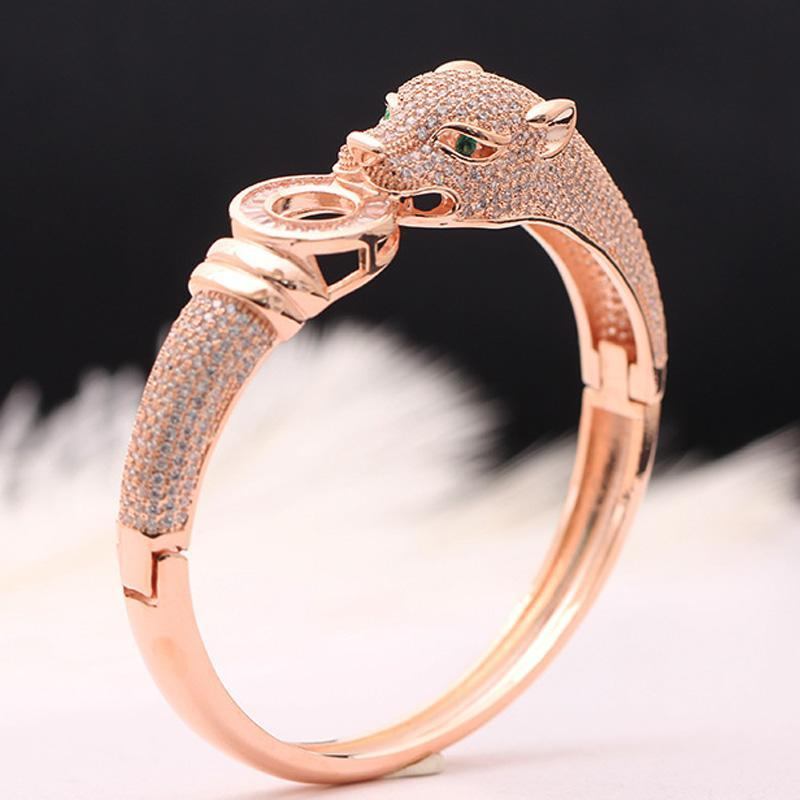 Jewelry Blucome Luxury Brand leopard Animal Bangle for Men Accessories Perfect Cubic Zirconia Wedding Jewelry Women Bracelet&bangles