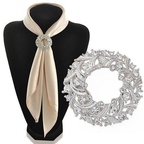jewelry Dual Brooch Pin & Clip, Round Sparkling Silk Ribbons Buckle Rhinestone Scarf Holder