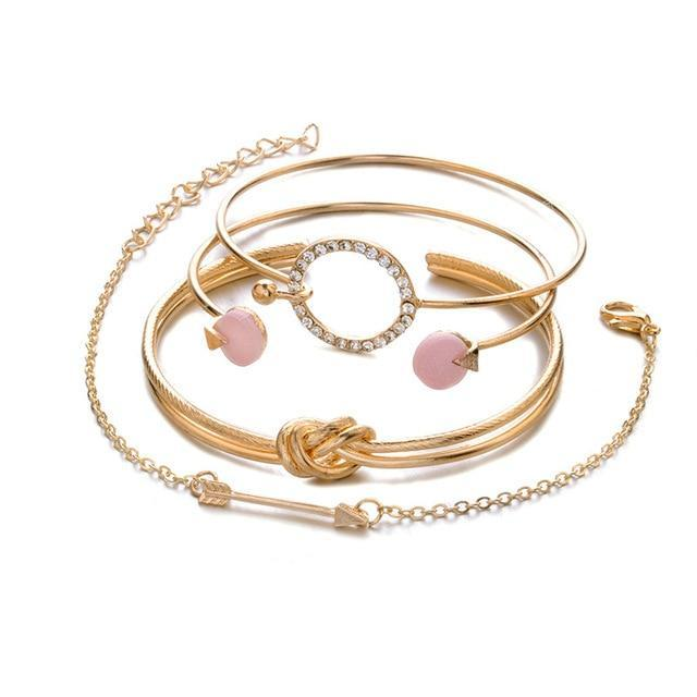 Jewelry Gold 4 Pcs/ Set Classic Arrow Knot Round Crystal Gem Multilayer Adjustable Open Bracelet Set Women Fashion Party Jewelry Gift
