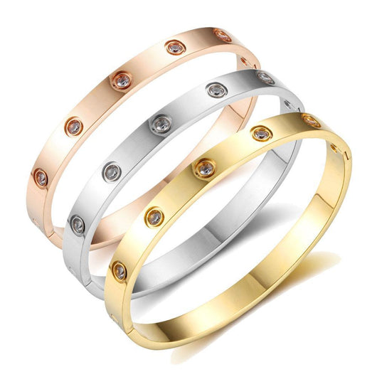 NIRONG LAVIE Womens 18K Rose Gold Bangles Adjustable Bracelet with Swarovski Crystals Agate Brecelets Gifts for Women Girls Mother