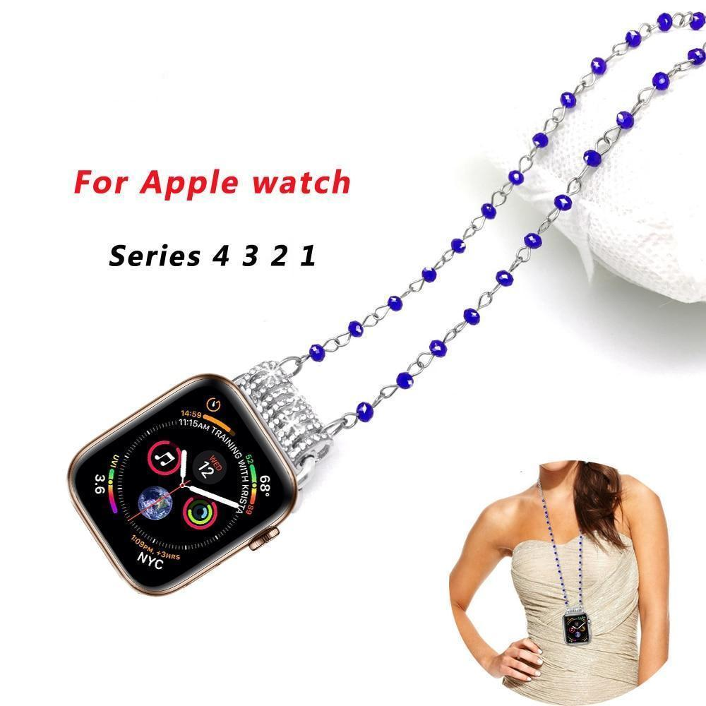 Jewelry New Apple Watch necklace blue silver crystal bling pendant, fade resistant color, 44mm 40mm 42mm 38mm,  iwatch series 4 3 2 1, US Fast shipping