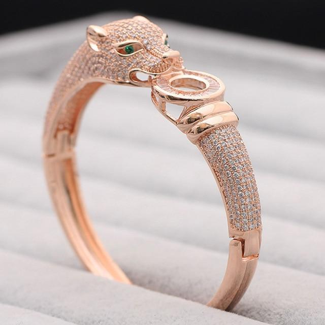 Jewelry rose gold  ring 7 Blucome Luxury Brand leopard Animal Bangle for Men Accessories Perfect Cubic Zirconia Wedding Jewelry Women Bracelet&bangles