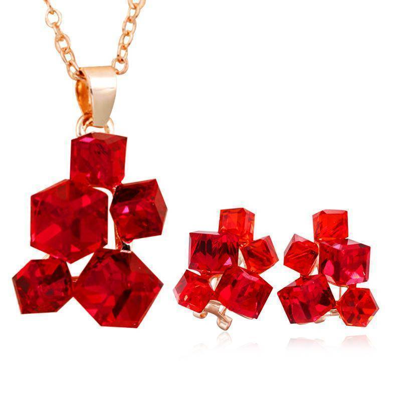 Jewelry Set Geometric Crystal Jewelry Sets Necklaces & Pendants Stud Earrings