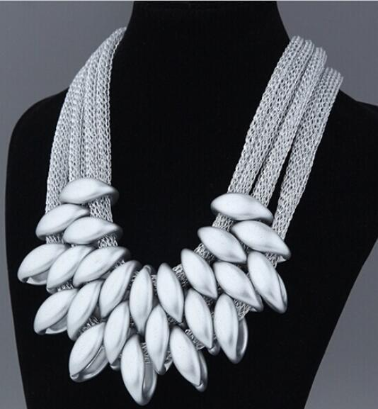 jewelry White Vintage Silver/Gold/Black Choker Statement Necklace Women Bijoux Rope Chain Geometric Necklaces & Pendants Big Chunky Necklaces