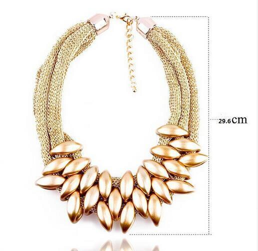 jewelry xl767AAGold Vintage Silver/Gold/Black Choker Statement Necklace Women Bijoux Rope Chain Geometric Necklaces & Pendants Big Chunky Necklaces