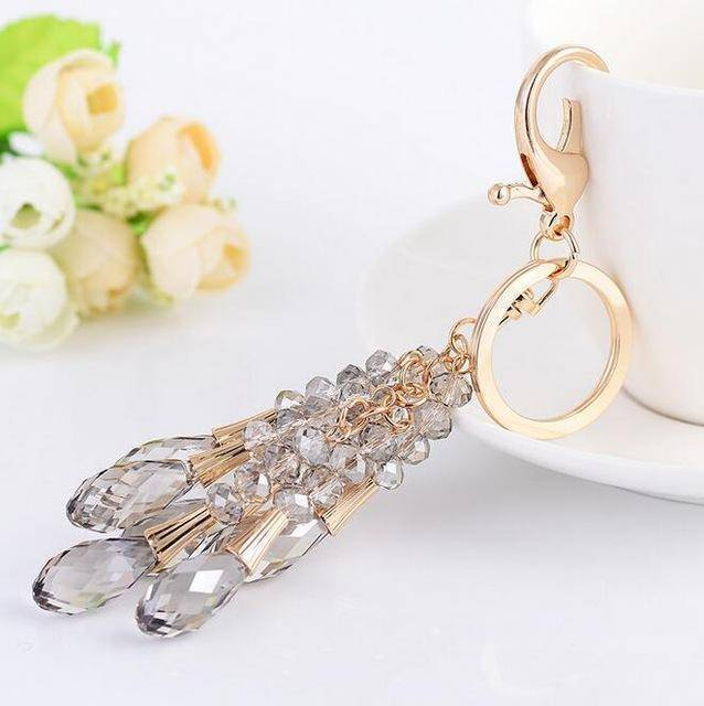 keychains Black High Quality Crystal Bead Gold Key chain water drop Pendant