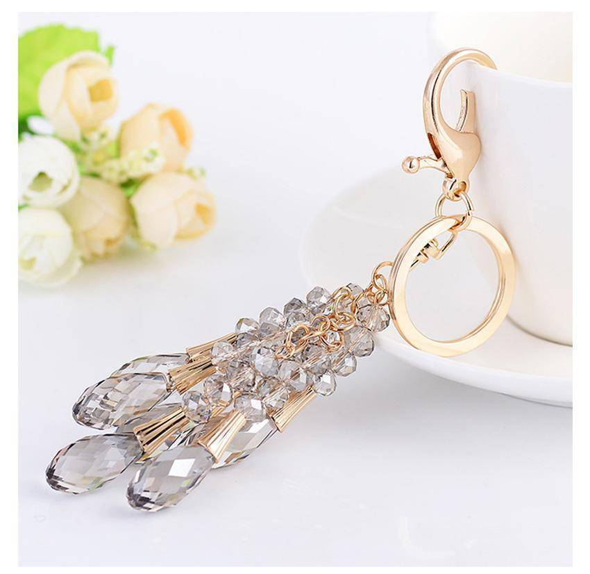 keychains High Quality Crystal Bead Gold Key chain water drop Pendant