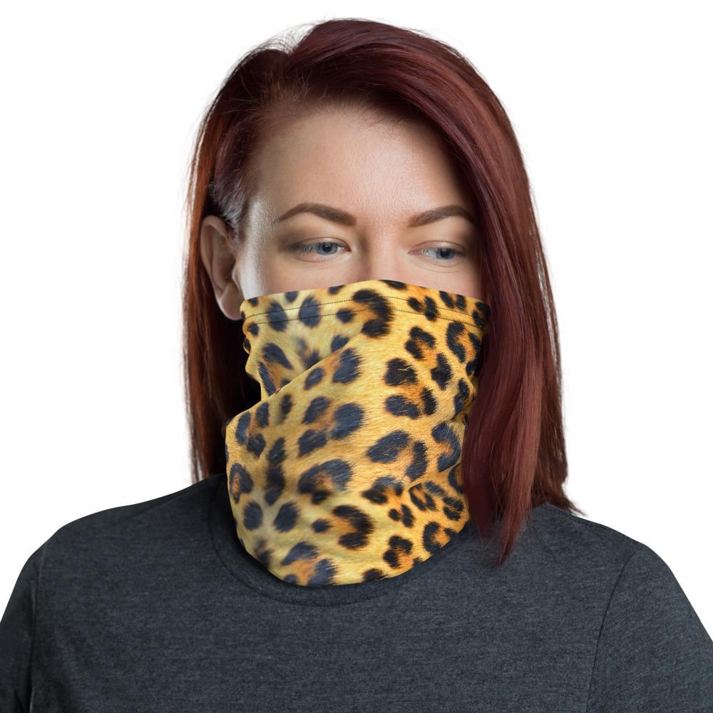 Leopard Print Neck Gaiter - Washable - Soft Flannel Mouth Nose Mask - Allergy - Dust - Adult Mask - Double Layer- Flannel Interior