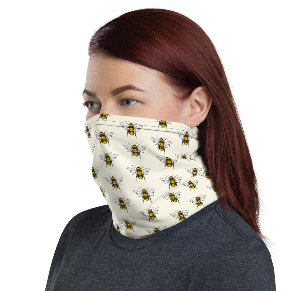 Black and yellow bees with white background design face mask covers, Neck Gaiter scarf, Hairband, headband,  Hood, Balaclava Beanie, for girls and women