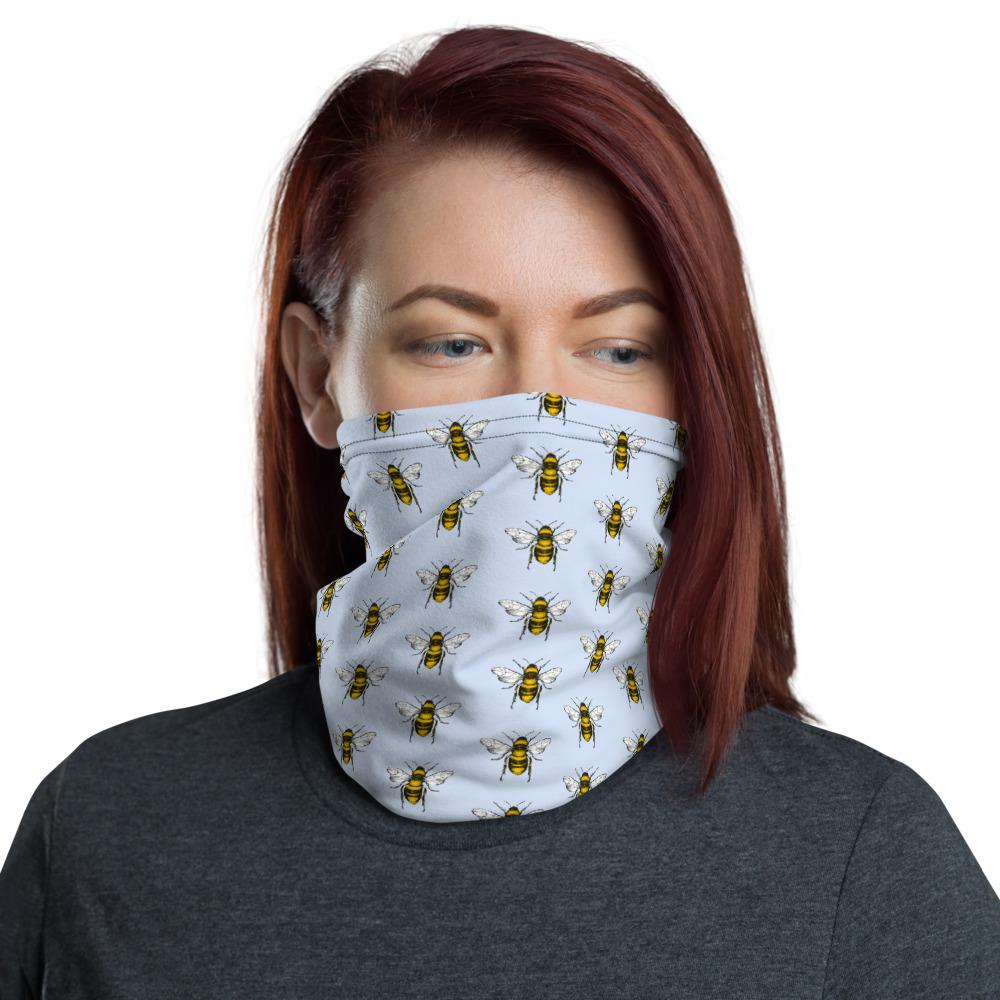 Black and yellow bees with light blue background design face mask covers, Neck Gaiter scarf, Hairband, headband, Hood, Balaclava Beanie, for girls and women
