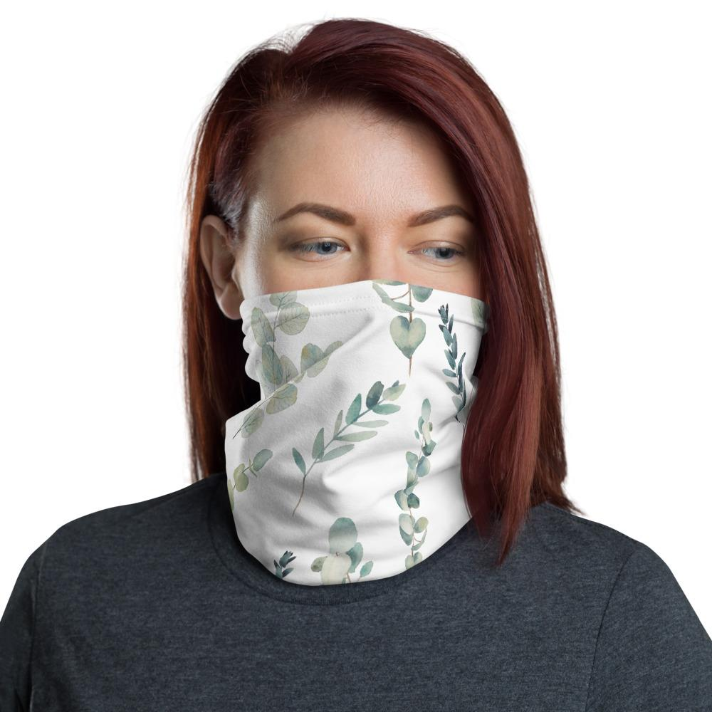 Hand painted eucalyptus leaves pattern design Neck Gaiter scarf, face mask covers, Hairband, headband, Hood, Balaclava Beanie, for girls and women