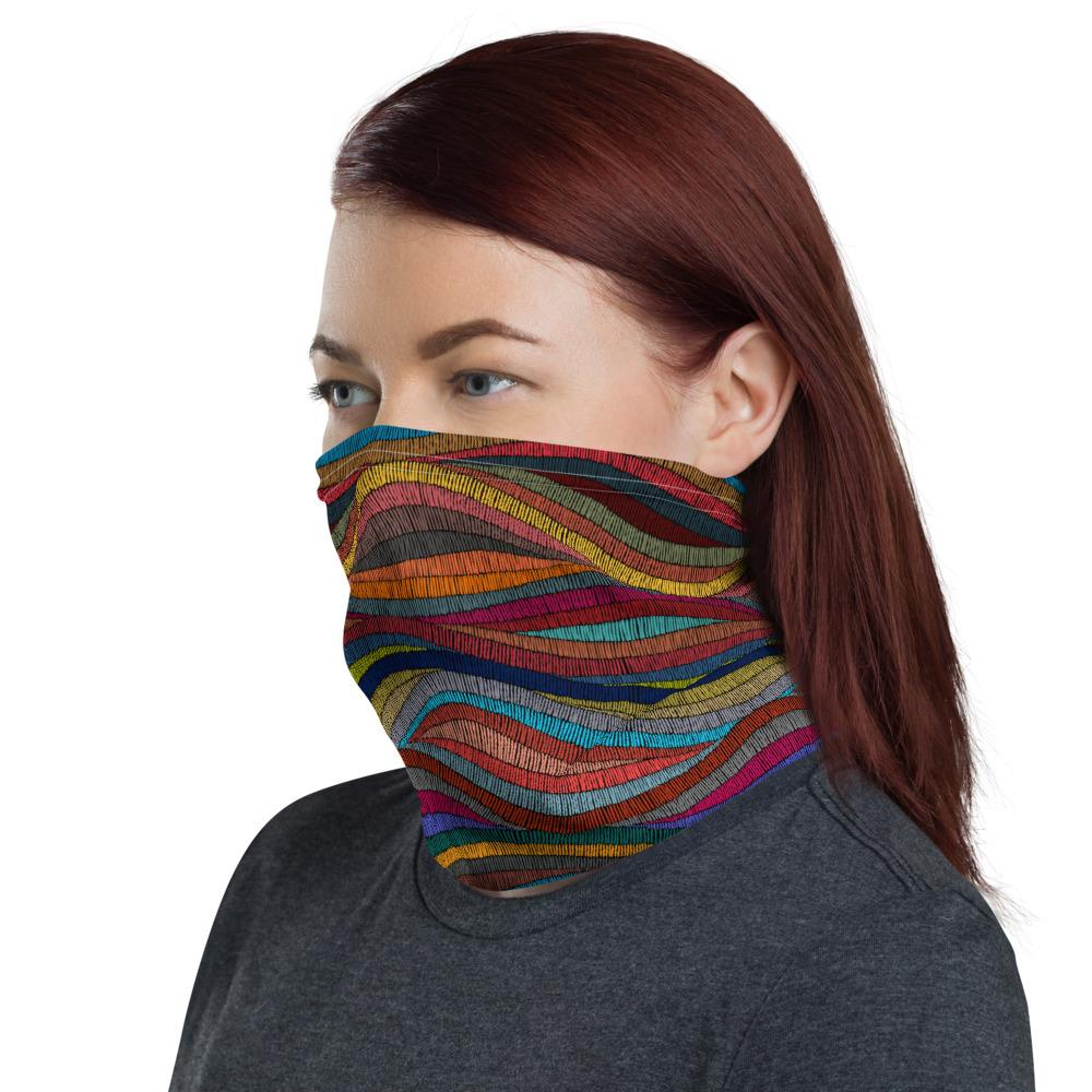 Colorful wavy pattern design neck Gaiter scarf mask, reusable washable fabric tube Face cover, Neck warmer Scarves, headband head wear for men and women