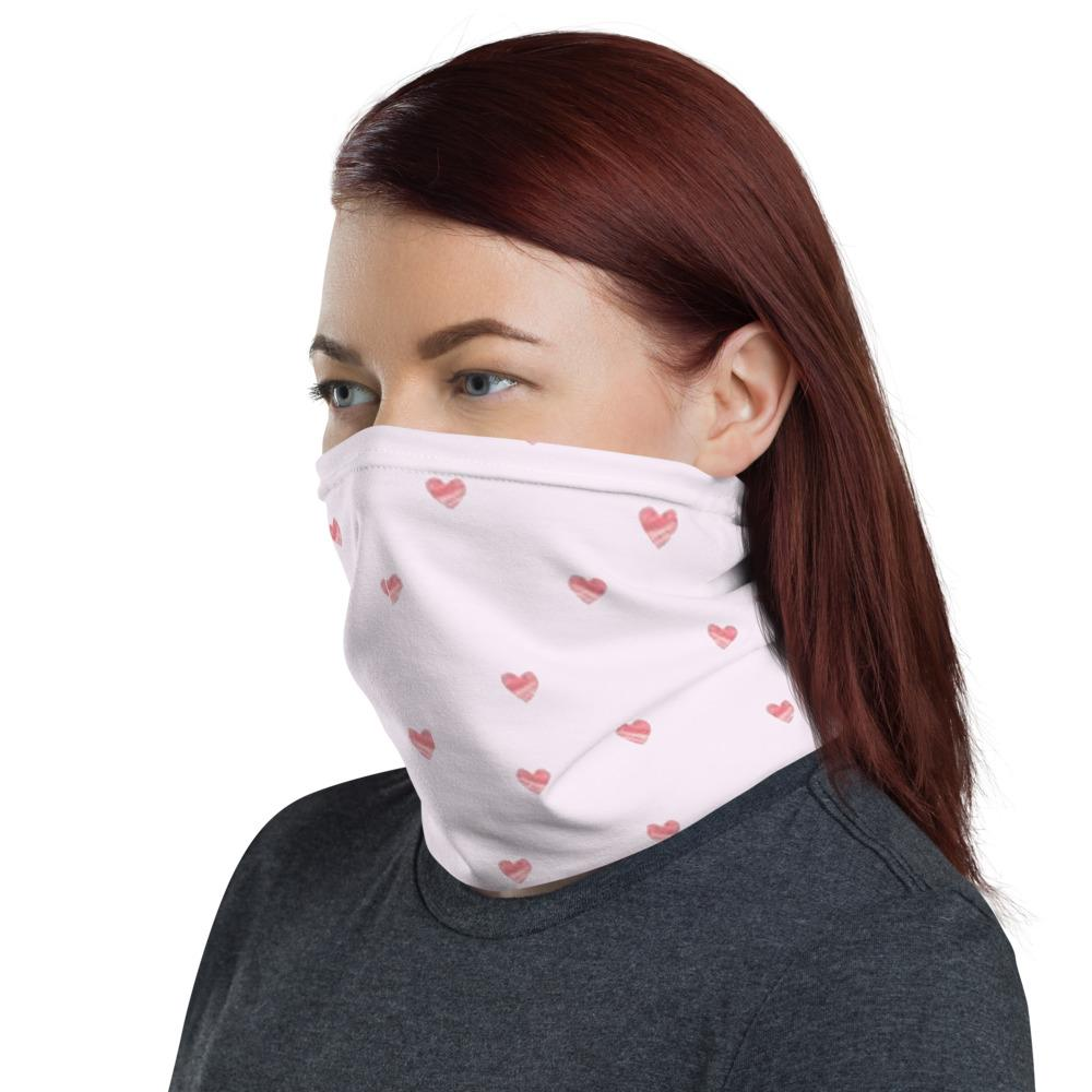 Little heart pattern with light pink design neck Gaiter scarf mask, reusable washable fabric tube Face cover, Neck warmer Scarves, headband head wear for men and women