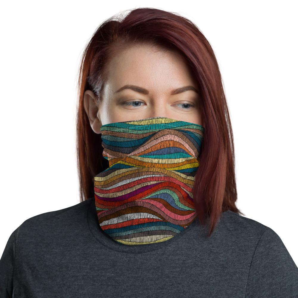 Wavy bohemian pattern print design neck gaiters face mask covers, Neck Gaiter scarf, Balaclava Beanie, Hairband, Hood, Headband for men and women