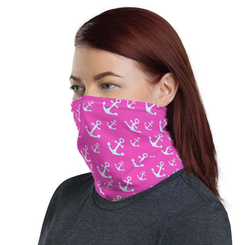 Anchors vector with pink background pattern design neck gaiters face mask covers, Neck Gaiter scarf, Balaclava Beanie, Hairband, Hood,  headband for men and women