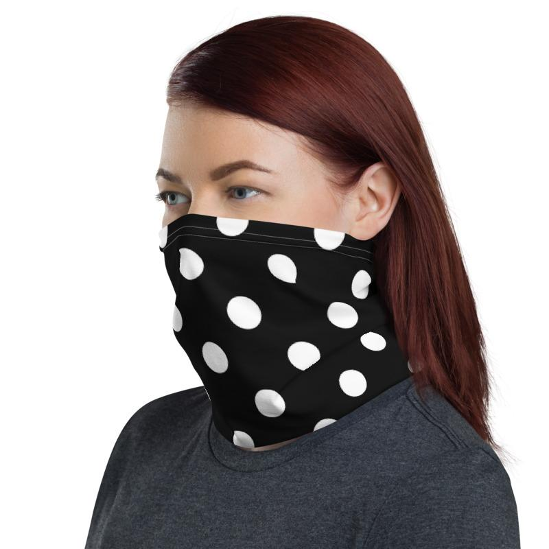 Black polka dots with black background design neck gaiters face mask covers, Neck Gaiter scarf, Balaclava Beanie, Hairband, Hood, Headband for men and women