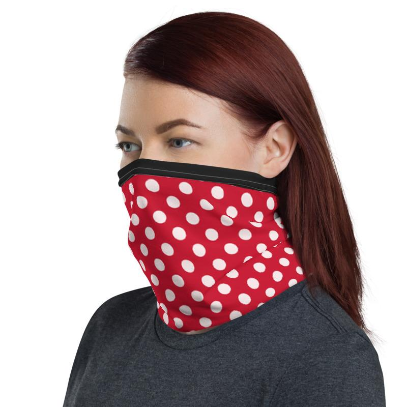 White polka dots with red background and black top lining design neck gaiters face mask covers, Neck Gaiter scarf, Balaclava Beanie, Hairband, Hood, for men and women