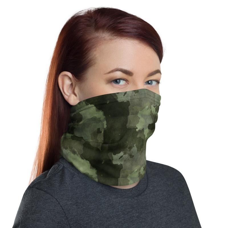 Watercolor Painted camouflage design neck Gaiter scarf mask, reusable washable fabric tube Face cover, Neck warmer Scarves, headband head wear for men and women