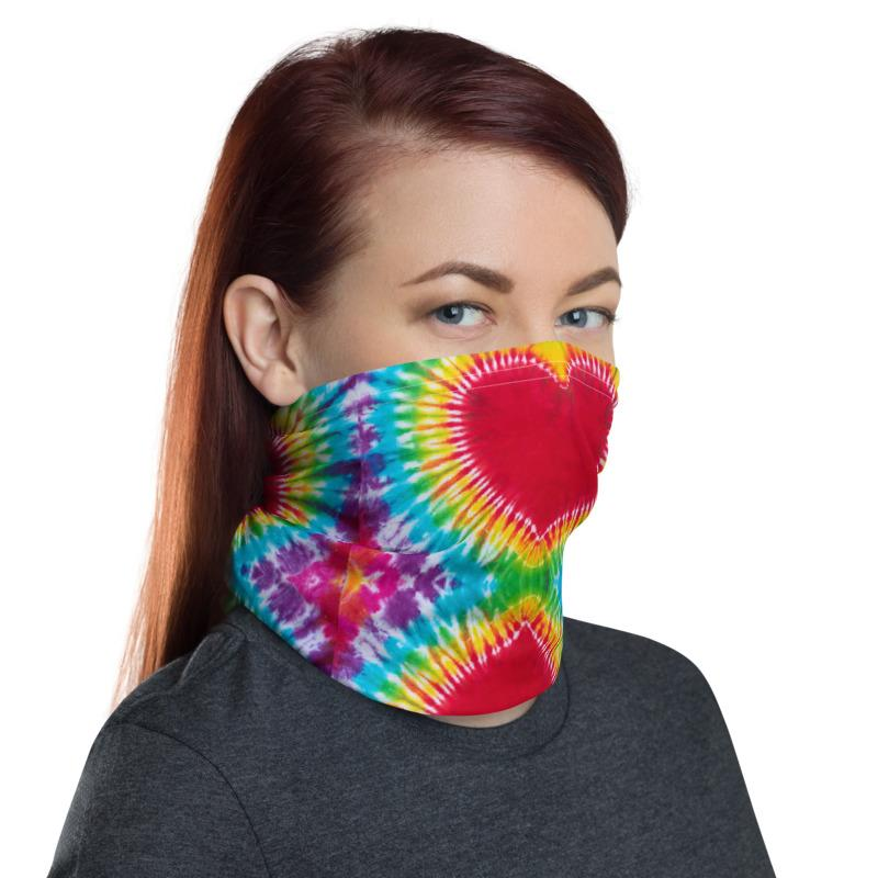 Heart sign tie dye pattern design neck gaiters face mask covers, Neck Gaiter scarf, Balaclava Beanie, Hairband, Hood,  headband for men and women