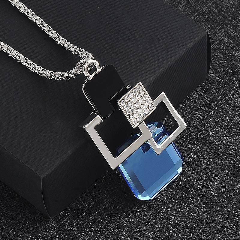 necklace 26 Designs, Geometric Crystal long Pendant Necklaces