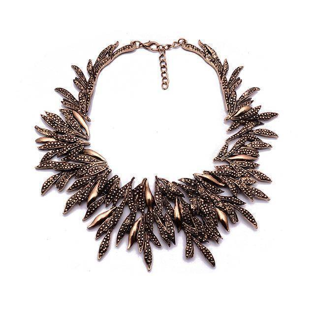 Necklace bronze Leaf Metal Vintage Statement Necklaces, Maxi Collar
