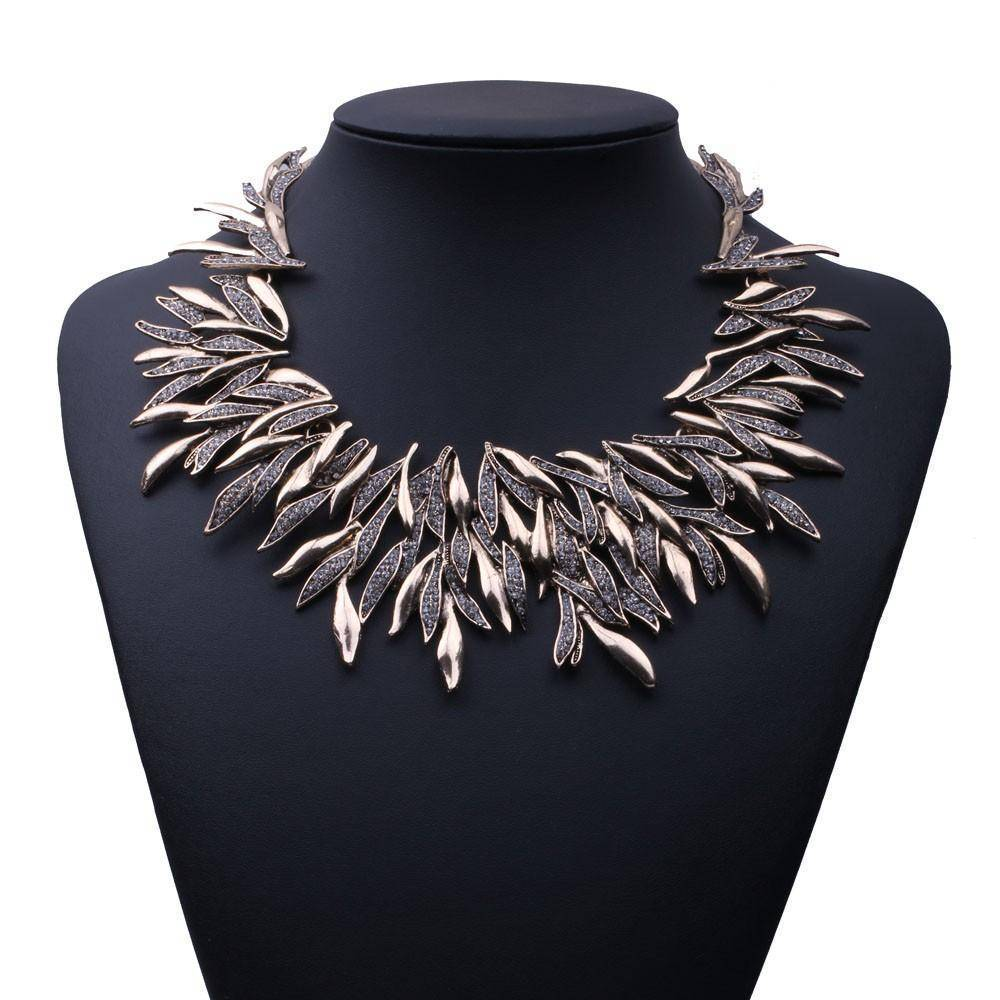 Necklace Leaf Metal Vintage Statement Necklaces, Maxi Collar