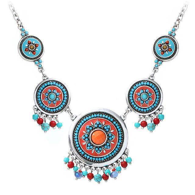 necklace silver Ethnic Enamel Statement Necklaces