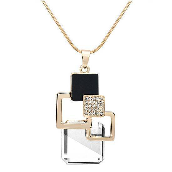necklace X29B 26 Designs, Geometric Crystal long Pendant Necklaces