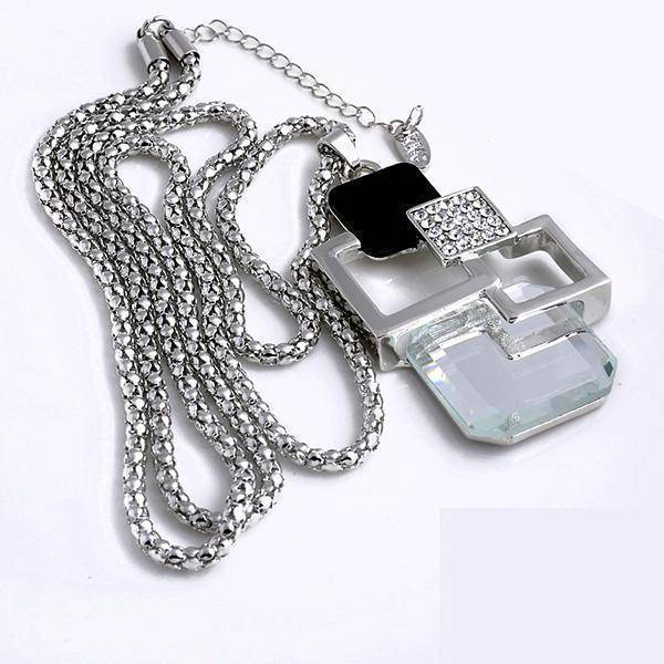 necklace X93B 26 Designs, Geometric Crystal long Pendant Necklaces