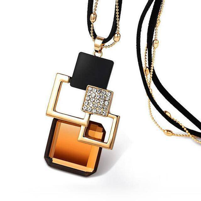 necklace ZL27 26 Designs, Geometric Crystal long Pendant Necklaces